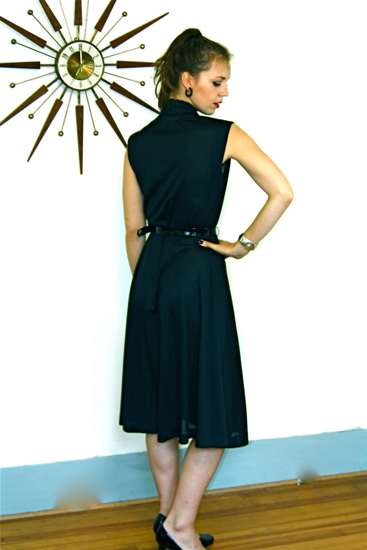 Pussy Bow Dress Little Black Dress Vintage 70s Dress