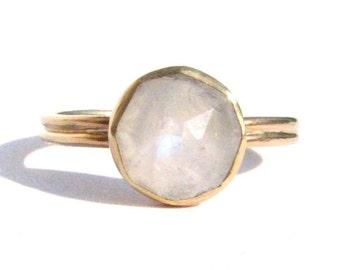 Moonstone 14k Solid Gold Ring - Rose Cut Moonstone Ring - Moonstone Gold Ring - Moonstone Engagement Ring-Gold Moonstone Ring-Made To Order.