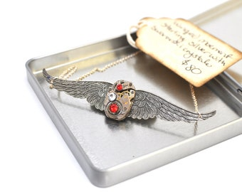 Steampunk Inspired Sterling Aviator Wing Necklace Vintage Watch Movement  with Swarovski Crystals 00211