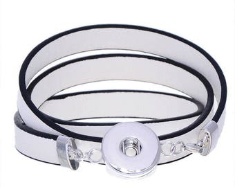 x 1 white MULTISTRAND leather bracelet for snap silver 60 cm