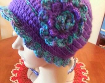 Crocheted Womans Hat with Flower/Sienna Beanie/Beanie for Women/Crochet Hats, Winter Beanies