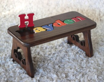 Classic Two Toned Hardwood Puzzle Stool Educational Toy