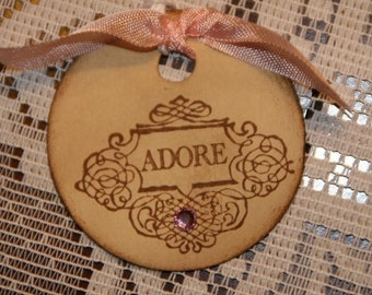 Round ADORE Tags with Pink Embellishment Rhinestone
