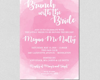 Brunch with the Bride, Bridal Shower Invitation, Bridal Brunch Invitation, Pink Watercolor, Wedding Shower Invitation, Bridal Shower Pink