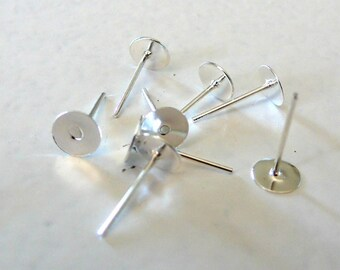 Set of 10 6mm silver plated ear studs