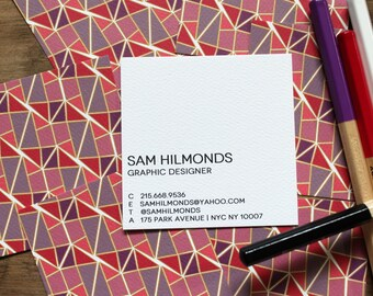 calling cards / business cards faceted pattern reds / plums - set (50)
