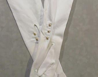 Long white vintage gloves with pearl buttons