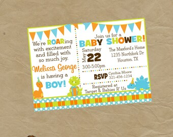 DINOSAUR Baby Shower Invitation Invite - Digital Personalized File to Print