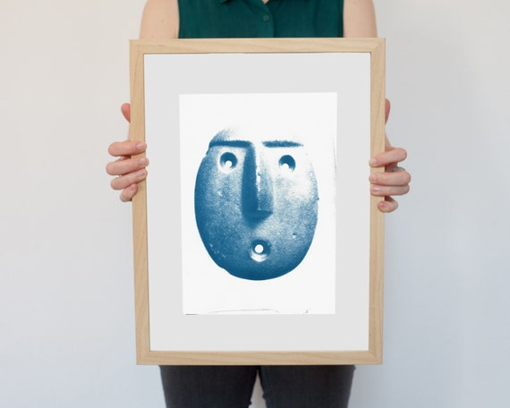 Andean Head Sculpture Emoticon, Ancient Emoji Cyanotype on Watercolor Paper, A4 size (Limited Edition)