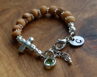 Baby Boy Olive Wood Bracelet. Personalized Hand Stamped  BABY Bracelet.Baby Baptism. New Baby Shower Gift. Gift For Godson.Baby Bracelet.