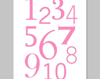 Numbers Nursery Art Print - One Through Ten - 11x14 - CHOOSE YOUR COLORS - Shown in Pink and White