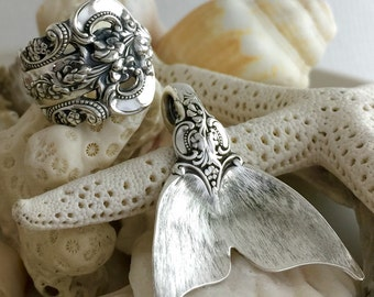 Made to Order, Vintage Sterling Silver Wallace Spoon Ring and Mermaid Tail Pendant Set