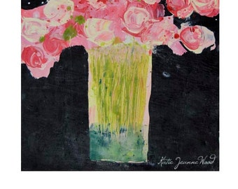 Acrylic Pink Roses Flower Painting. Still Life Floral Art. Pink Floral Painting. Wall Decor. 190