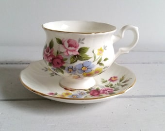 Antique fine bone china cup and saucer 'Crown'
