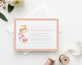 Watercolor Floral Bridal Shower Invitations | Outdoor Boho Wedding Shower Invites | Downloadable PDF | DIY Custom Print | Invites Under 25