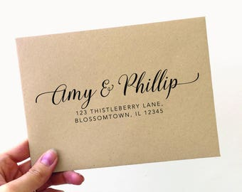 Couple Return Address Stamp, Address Rubber Stamp, Personalized Stamp, Christmas Card Stamp, Gifts for Couples, Custom Stamp  (SADDR157)