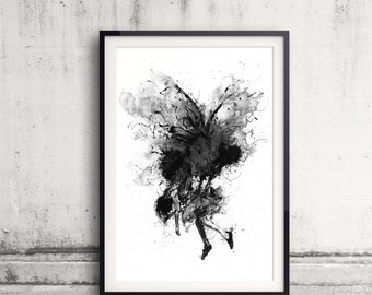 Moth, Ink Artwork, Black and White Art, Moth Print, Dark, Fantasy, Girl, Prey, Ink Art, Butterfly, Moth and Girl, Insect, Moth Art