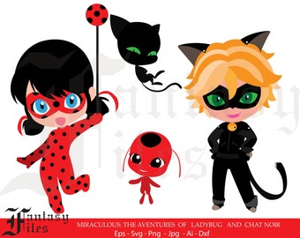 DISNEY, the aventures of ladybug and chat noir svg/png/jpg/eps/ai/dxf. Instant DOWNLOAD