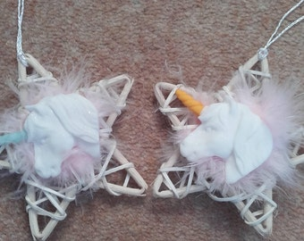 White and Pink unicorn Christmas decorations, unicorn Decorations with pink feather, unicorn Ornaments with a wicker star