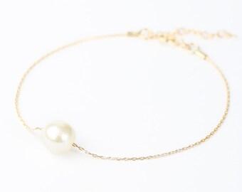 Ivory Gold Pearl Bracelet - Swarovski Pearl Bracelet - Pearl Bracelet Bridesmaid - Bridesmaid Pearl - Single Pearl Bracelet - Simple Pearl