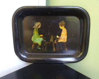 Antique 19th Century Hand Painted Toleware Tray Children Praying