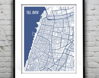 Tel aviv map tel aviv art tel aviv print tel aviv israel tel aviv israel blueprint map poster art print several sizes available malvernweather Choice Image