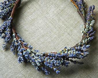 Lavender Flower Crown Circlet Halo Dried Lavender and Dried Flowers for Brides, Bridesmaids, Flower girls, Infants, Children