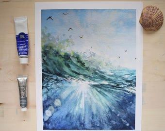 Sunburst Watercolor, Ocean Watercolor, Beach Watercolor, Beach Art, Coastal Art, Beach Print, Wave Watercolor, Ocean Art, Ocean Art Print