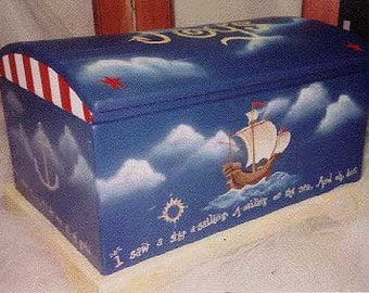 sailing ships toy box, hand painted children's furniture