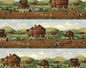 Country Store Barn  Scene Cotton Quilt Fabric Windham  By the Yard