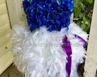 Floral tutu dress, feather dress, flower girl dress, feather tutu, flower tutu, pageant dress, girls dress, baby dress, girls clothing