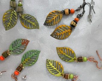 Torch Fired Filigree Leaf Earrings