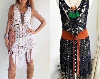 Cross Crochet Boho Dress with long Fringe/Off-White Colors/Festival crochet dress/Bikini Cover up dress/Hippie Fringe dress.