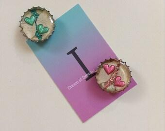 Love Heart Recycled Bottle Cap Fridge Magnets
