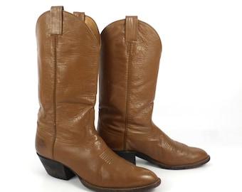 Cowboy Boots Vintage 1980s Laramie Leather Carmel Brown Boots Men's size