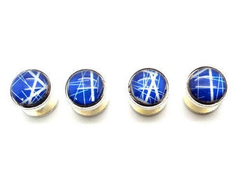 Blue and White Mother of Pearl Tuxedo Shirt Studs – Blue and White Striped Design Tuxedo Shirt Studs – Blue and White Tuxedo Shirt Studs