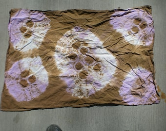 tie dyed brown and purple dish  towel