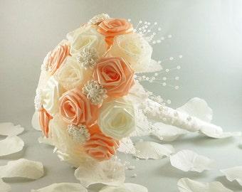 Vintage Victorian, Wedding Bouquet, Classic Bridal Bouquet, Pink Roses, Origami Wedding Bouquet, Rose Bouquet,
