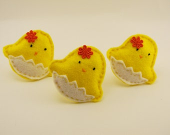 Easter Chick Felt , Easter decor, felt chicken ornamets, yellow bird, Party Favors, Cupcake Topper, Birthday Party Decor,