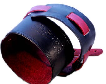 Black and Red leather guitar and bass strap
