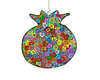 Wall hanging, Jewish art, wall art, pomegranate, pomegranate art, Judaica art, Jewish, pomegranate decor, wall decoration, jewish gifts