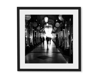 London Photography, Fine Art Print, Black and White Square Prints, Street Photography, Silhouettes, Mayfair, Wall art, Home Decor, Photo