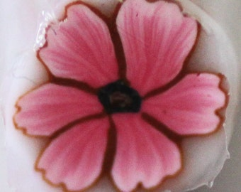 Pink Flower, Polymer Clay Cane, Rose Bloom Raw Unbaked Millefiore