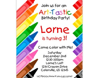 Kids Art Party Invitation - Rainbow Crayons, Little Artist, Art Crayon Coloring Personalized Birthday Party Invite - Digital Printable File
