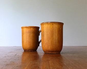 Pair Vintage W German Ceramano Earth Tone Mugs / Cups