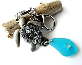 Sea Turtle Keychain, Turquoise Sea Glass Keychain, Turtle Car Accessories, Turtle Gifts, Rhinestone Turtle Charm Keychain