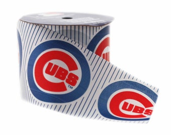 Offray MLB Chicago Cubs Fabric Ribbon, 2-1/2-Inch by 9-Feet, White/Blue/Red