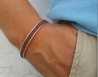 Leather and Silver Bracelet Mens, Mens Silver and Leather Bracelets, Sterling Silver Mens Cuff Bracelet, Adjustable Silver Cuff Men Bracelet