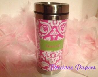 Personalized Travel Mug - Personalized damask travel mug - damask coffee cup mug - hot pink and lime green travel mug - stainless Travel Mug