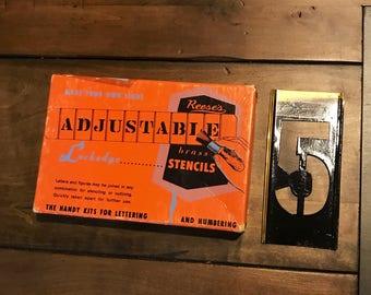 "Vintage Reese's Brass Stencil Number ""5"" Stencil - Rustic Stencils - Industrial Stencils - Project Supplies - Brass Craft Supplies & Tools"